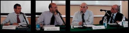 Luigi Orsenigo, Franco Malerba, Richard Nelson, Piero Bassetti alla Lecture di Nelson del 18 giugno