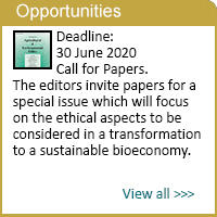 Call for papers Special Issue in the Journal of Agricultural and Environmental Ethics