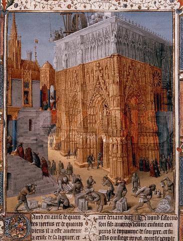 Jean Fouquet, 'La costruzione di una cattedrale', Quindicesimo secolo - cliccare sull'immagine per vederla ingrandita